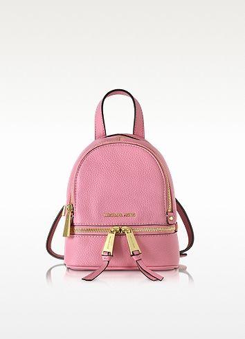 334a37e6e48b MICHAEL KORS Rhea Zip Misty Rose Leather Extra Small Messenger Backpack.   michaelkors  bags  leather  backpacks