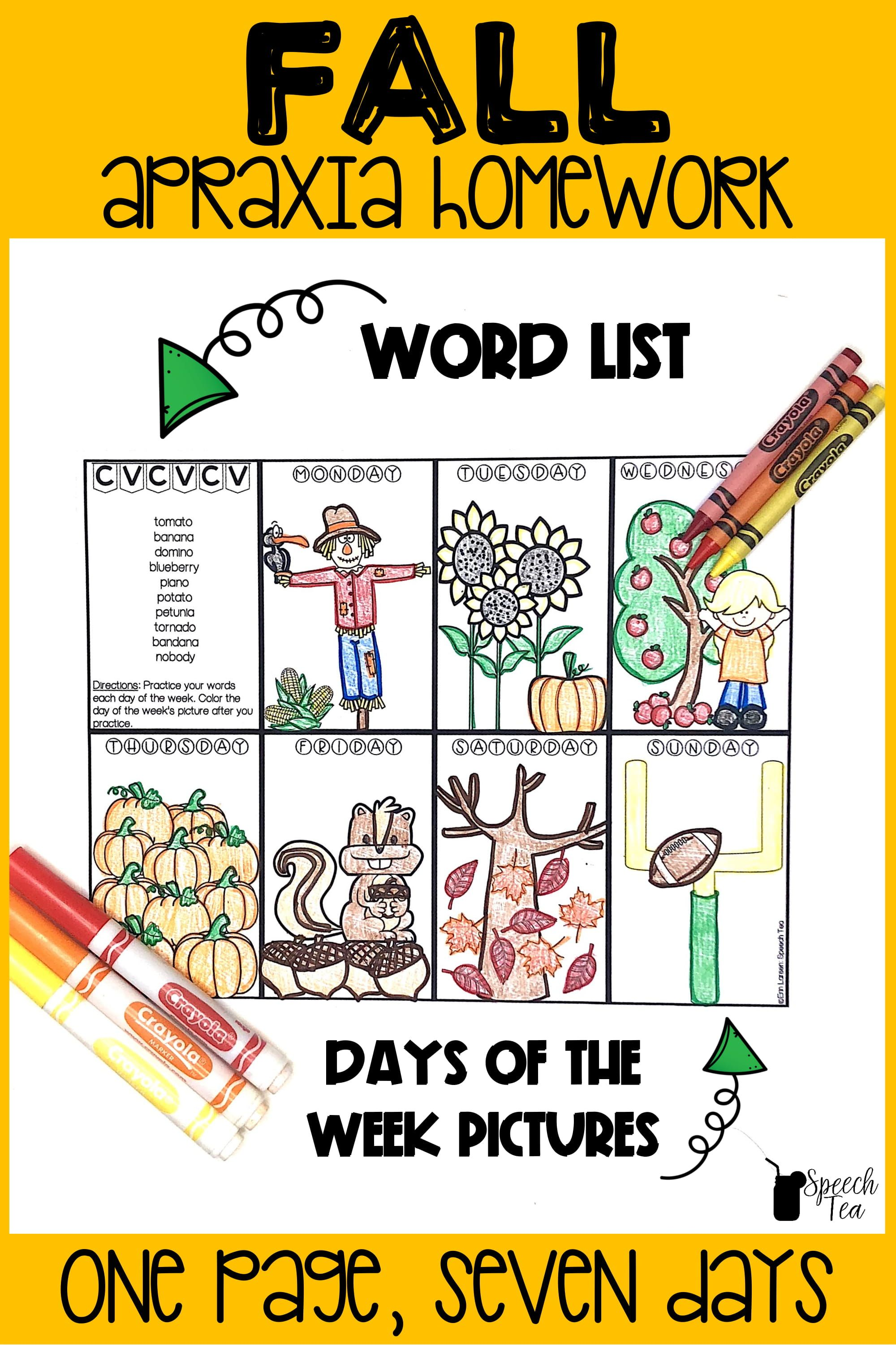 Apraxia Of Speech Homework For Fall Word List Included