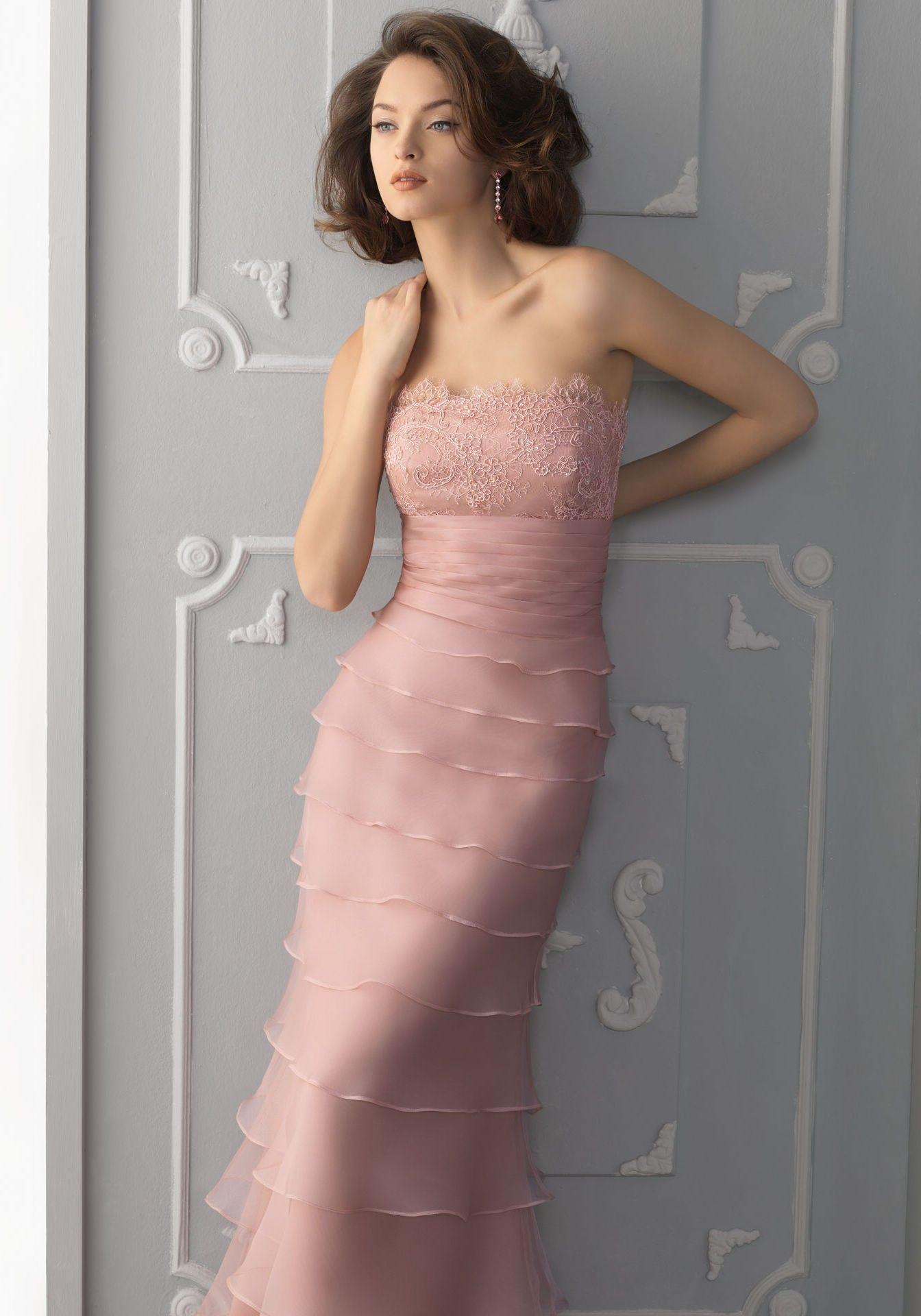 Rosa Organza Schulterfrei Empire Perlen Abendkleid   Evening Dress ...