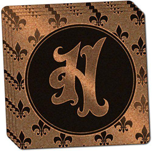 Letter G on Cork Design Thin Cork Coaster Set of 4