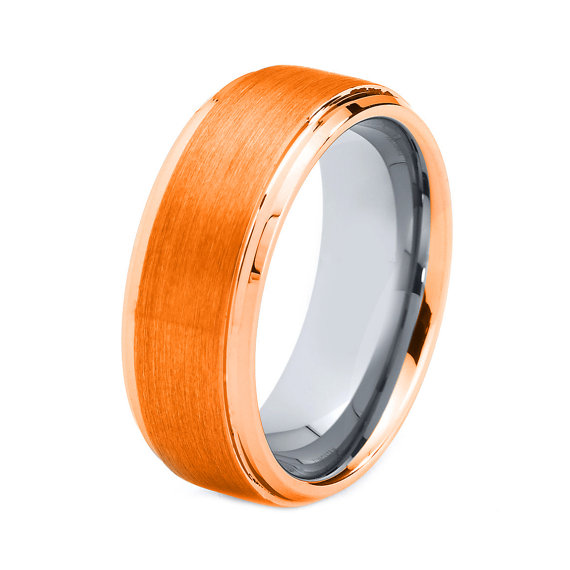 Orange Titanium Ring, Orange Men Titanium Rings, Orange Wedding ...