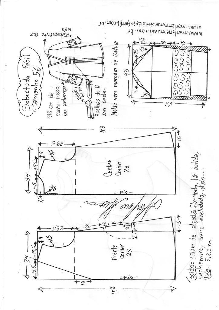 Casaco sobretudo fácil | DIY - molde, corte e costura - Marlene ...