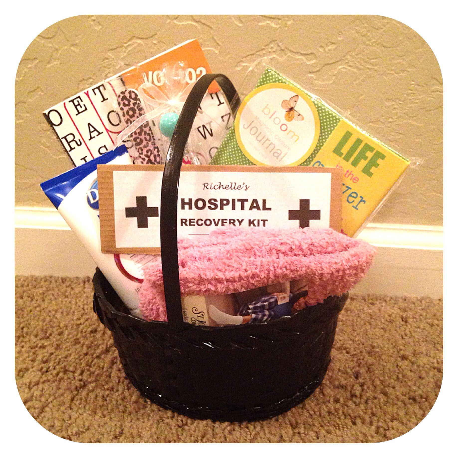 DIY Hospital Recovery Kit idea. Lotion, nail file, fuzzy socks, word ...
