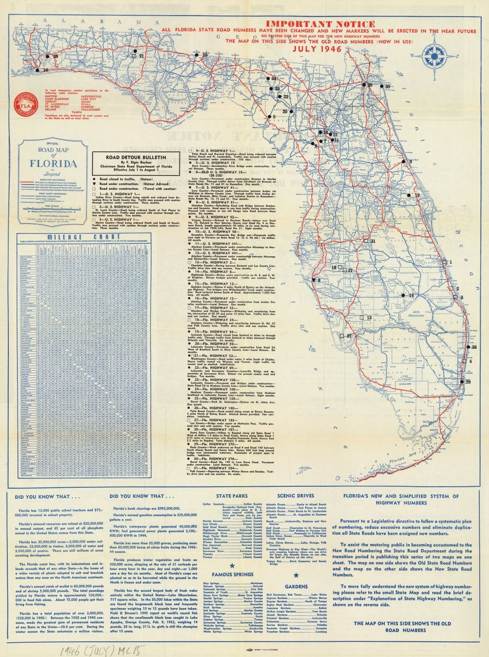 Map Of Florida Roads.Florida Memory Official Road Map Of Florida 1946 History Of