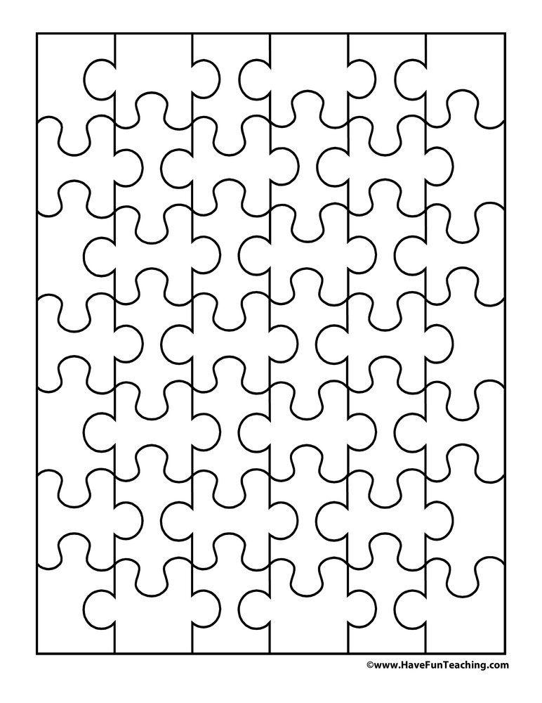 42 Pieces Blank Puzzle Puzzle Piece Template Puzzle Pieces Free Printable Puzzles