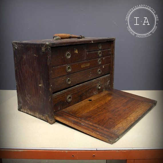 Vintage Industrial Wooden Union Tool Chest Works 6 Drawer Cabinet Gerstner Wood Tool Box Antique Cabinets Tool Chest