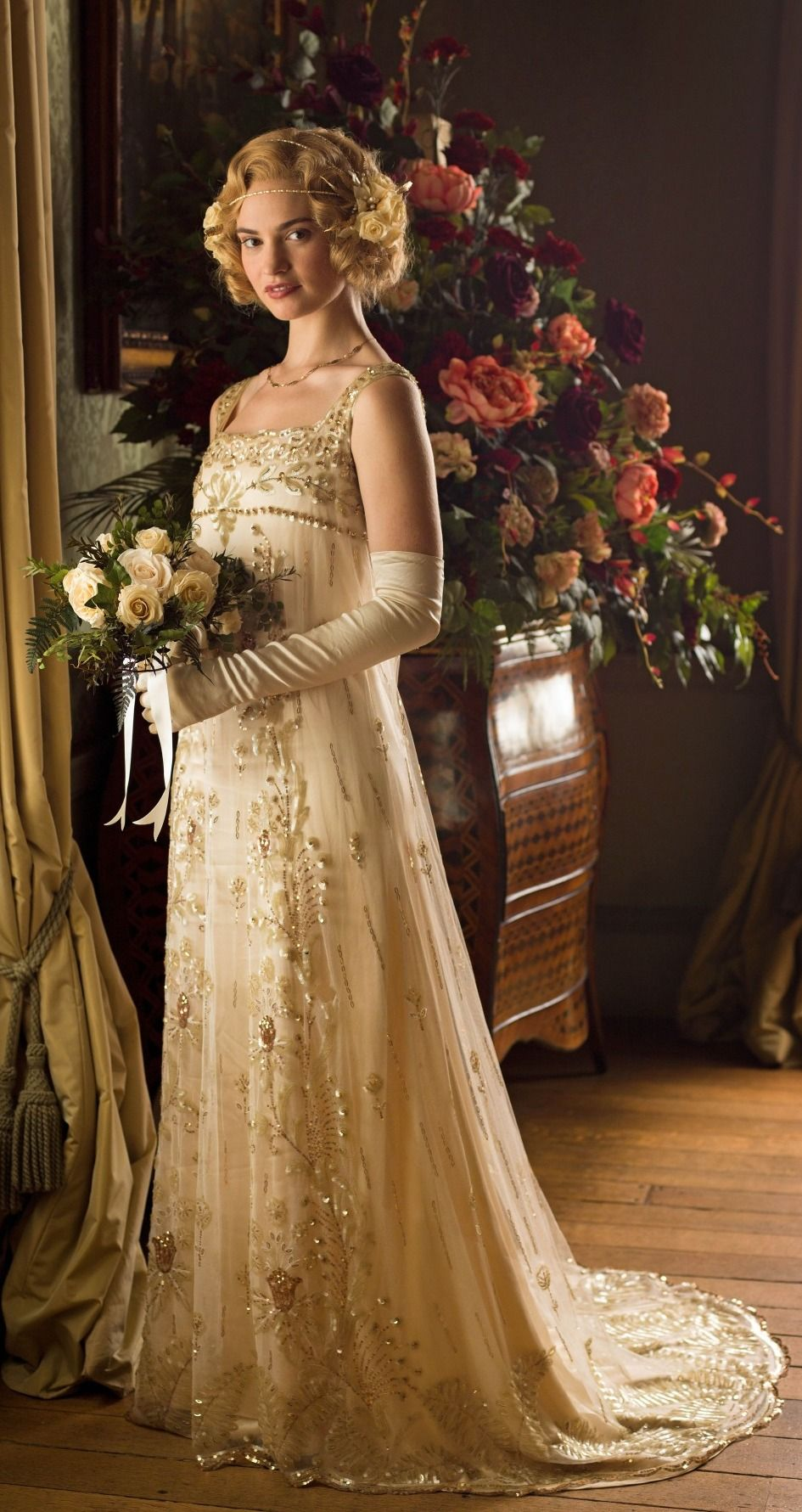 fairy tale wedding dresses Lady Rose wearing her gorgeous wedding dress Downton Abbey Series 5