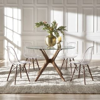 Shop For Nadine Walnut Finish Glass Table Top Round Dining Set
