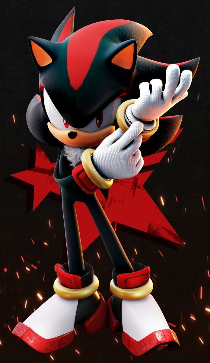 Shadow Putting On His Glove On His Left Hand And Stars Within The Incredible Sonic Shadow Wallpapers Sonic And Shadow Sonic Shadow The Hedgehog