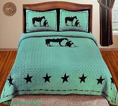 Details About Texas Star Praying Cowboy Western Quilt Bedspread Comforter 3 Pcs Set Turquoise Horse Comforter Sets Bedding Set Queen Bedding Sets