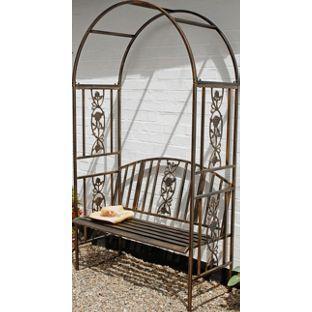 Buy Ornamental Garden Steel Arch U0026 Bench   Brown At Argos.co.uk,