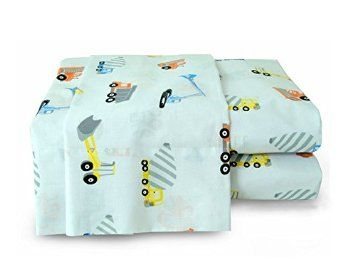 200TC 100% Cotton Printed Construction Zone Bed Sheet Set