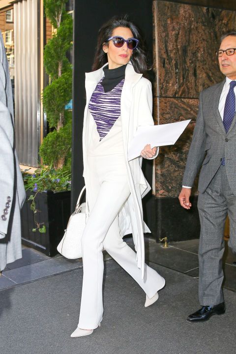 Amal Clooney Just Rocked the Perfect Summery Dress for Date Night with George #whitepantsuit