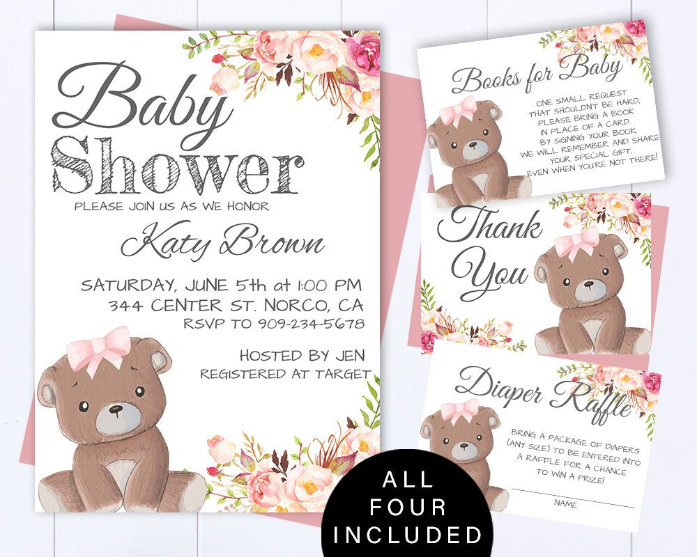 Pink Teddy Bear Baby Shower Invite Rustic Floral Baby Girl Shower