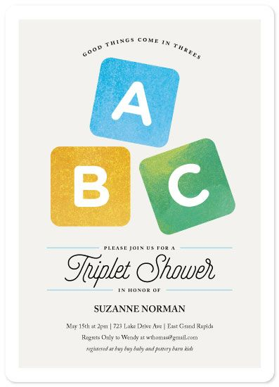 Baby shower invitations good things come in threes by laura baby this triplet baby shower invitation features whimsical watercolor stacking blocks filmwisefo Choice Image