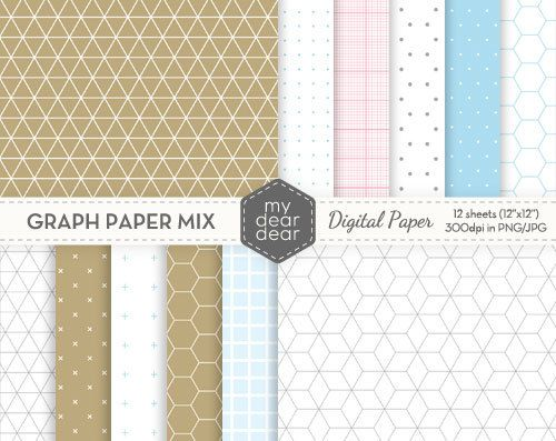 Graph Paper Mix Patterns (Isometric, Hexagonal, Cross, Tumbling