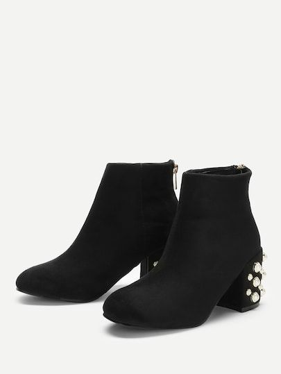 a4a9a5dbab Faux Pearl Decorated Heel Boots -SheIn(Sheinside) | Footware | Shoes ...
