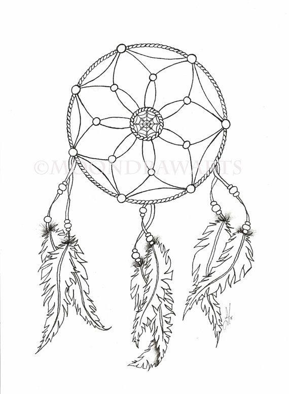 image about Dream Catcher Printable known as Desire Catcher Printable Coloring Web page Grownup via MoonDrawArts