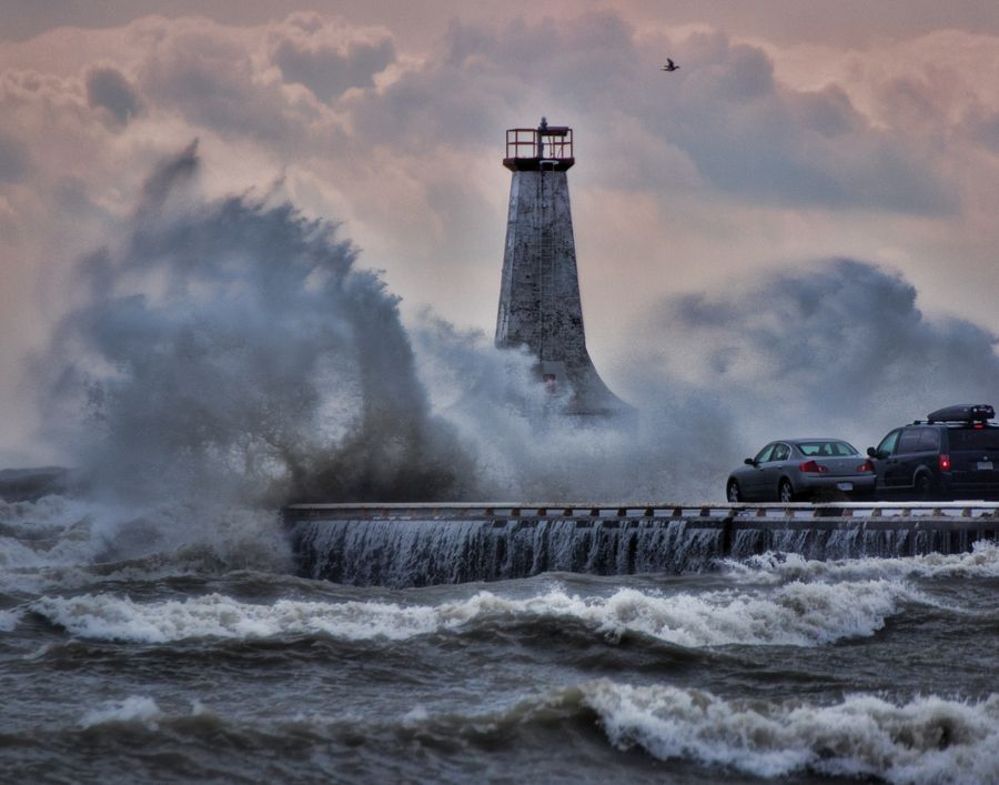 Free Carwash! ontario, water, harbour, lighthouse, waves, storm ...