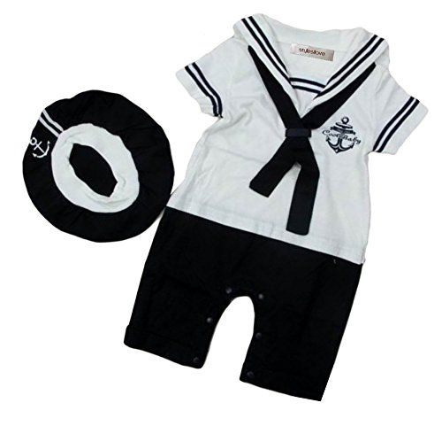 f8661bb5d7192 StylesILove Baby Boy Sailor Costume Romper and Hat 2piece 612 Months White      See