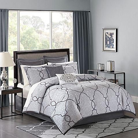 Madison Park Lavine 12 Piece Comforter Set In Silver Bed Bath Beyond Comforter Sets Bed Comforter Sets Luxury Comforter Sets