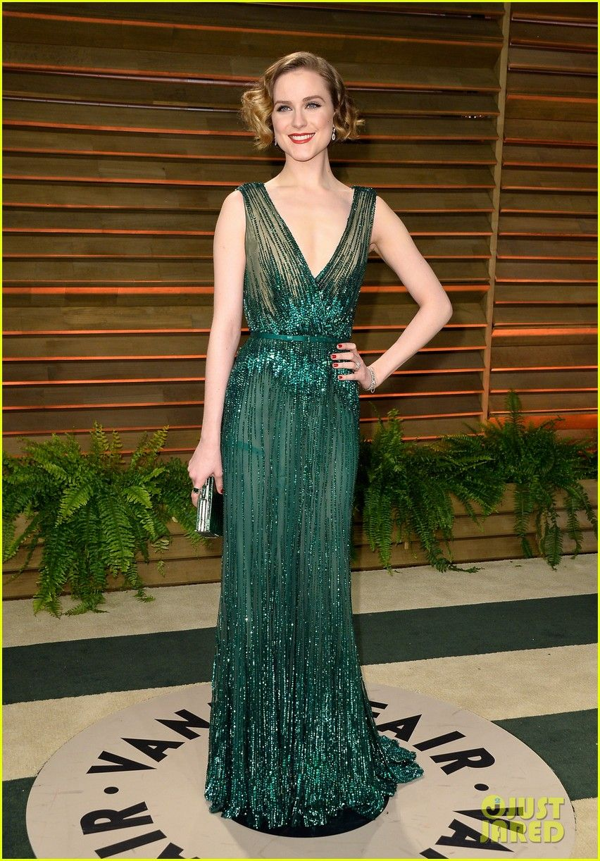 Evan is wearing an Elie Saab gown, Charlotte Olympia shoes, Judith Leiber bag, and Neil Lane jewels. Evan Rachel Wood Channels Old Hollywood at Vanity Fair Oscars Party 2014!   evan rachel wood channels old hollywood for vanity fair oscars p...
