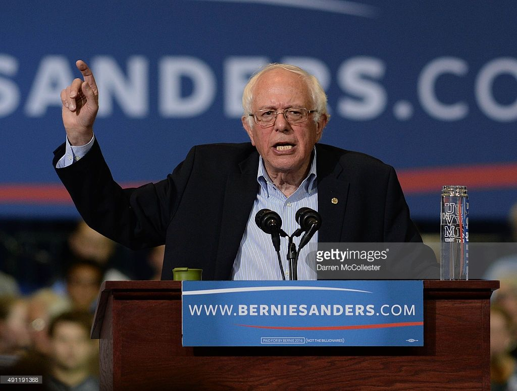 Democratic Presidential candidate Bernie Sanders speaks during a rally at the Boston Convention and Exhibition Center October 3, 2015 in Boston, Massachusetts. Thousands of people attended the rally, one of the biggest in recent state history for a politician.