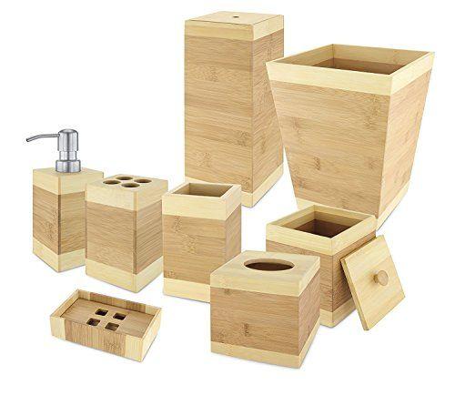 Kovot Bamboo Bathroom Accessories Set 8Piece Kovot Httpswww Captivating Bamboo Bathroom Accessories Inspiration Design
