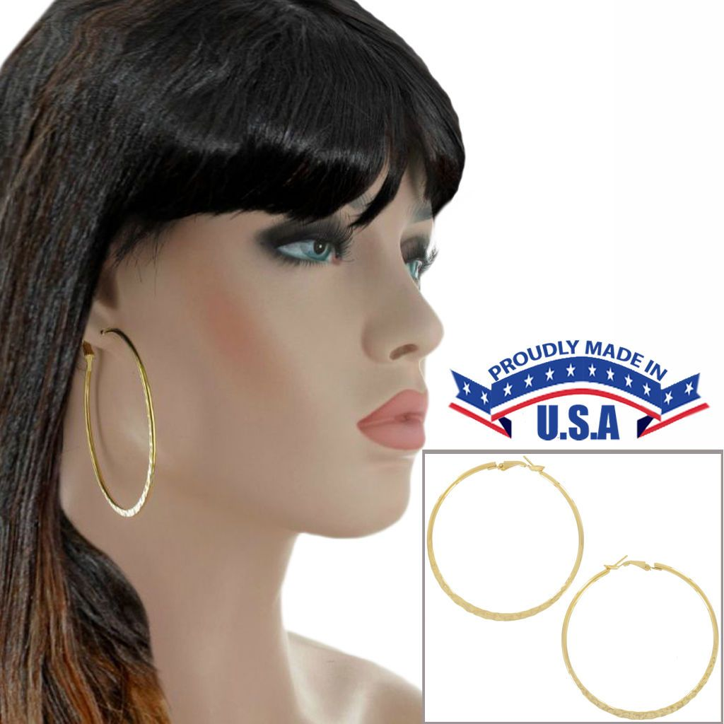 2 nose piercing  Large Yellow Gold Tone Pierced Hoop Earrings Usa Made