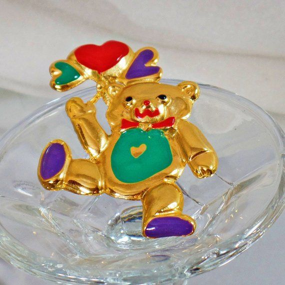 GOLD PLATE RED BLUE GREEN BALLOON TEDDY BEAR BROOCH PIN