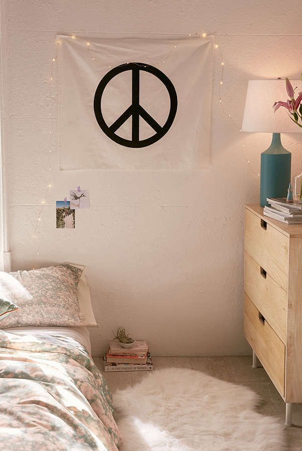Peace Sign Bedroom Accessories: Slide View: 1: Velvet Flocked Peace Sign Tapestry