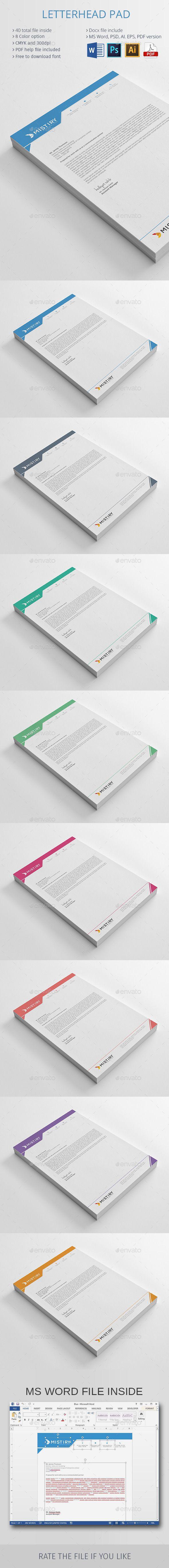 Free Letterhead Templates For Word Letterhead Pad  Pinterest  Stationery Printing Print Templates .