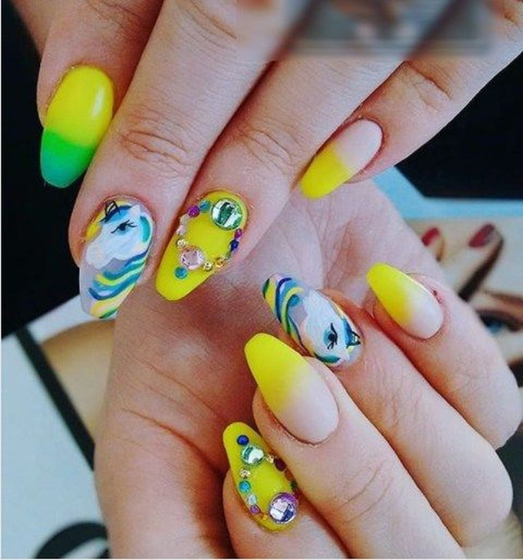 Awesome trendy yellow nail art ideas suitable for summer more at