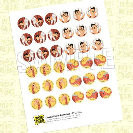 Vintage Circus Birthday Decals (1 Inch Circles) from the Classic Circus DIY Printable Collection by Spaceships and Laser Beams. $4.75, via Etsy.