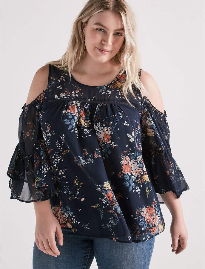 efff4e4bba0aaf Lucky Brand Printed Cold Shoulder Top