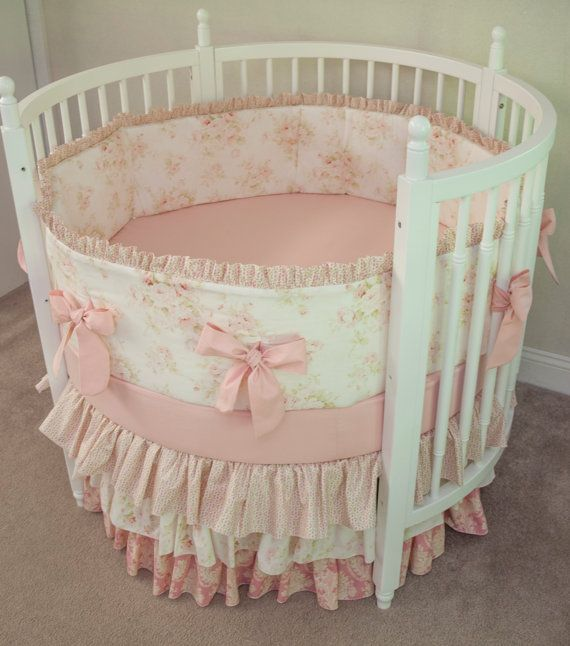 Round Crib Baby Girl Bedding Vintage Floral Shabby Chic Baby Pink Damask Antique Cream Ivory Cream Made From Mary Rose Fabric Shabby Chic Baby Furniture Baby Furniture Cribs