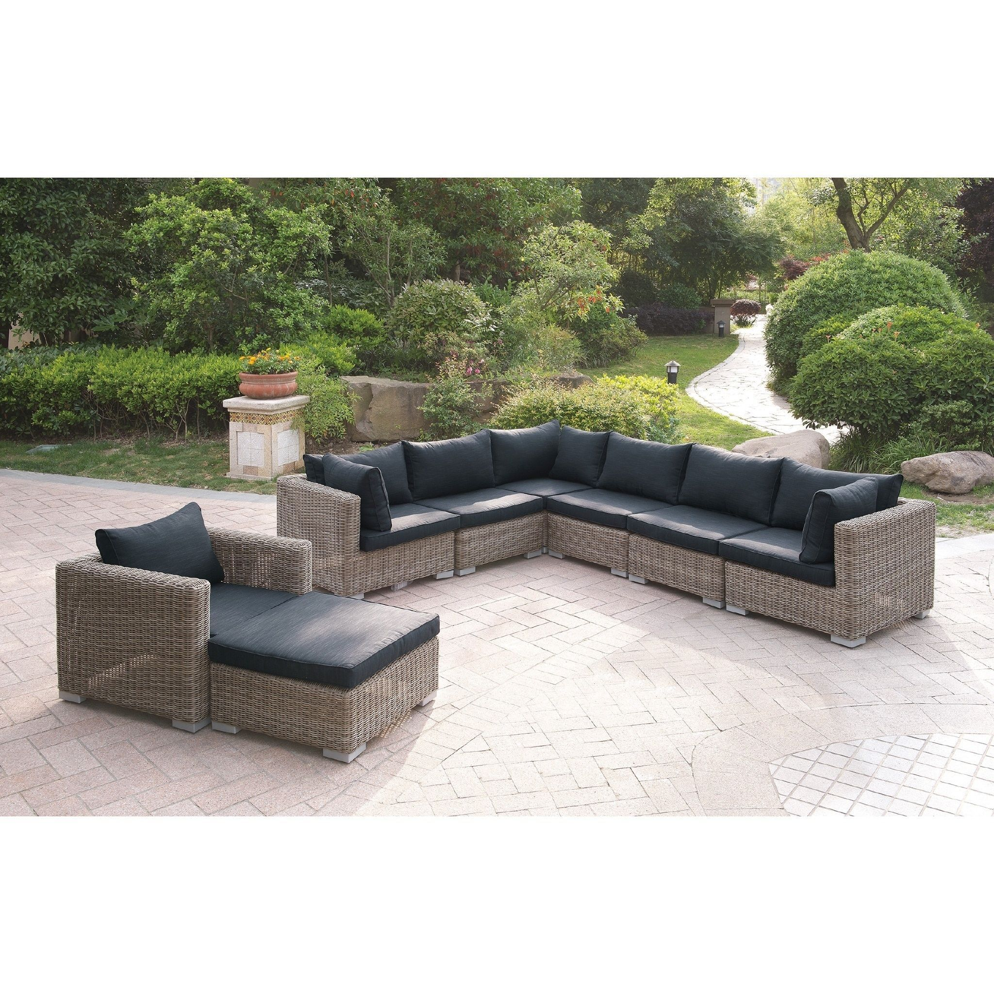 Harvey 8 Piece Patio Sectional Set II with Cushions Brown Size