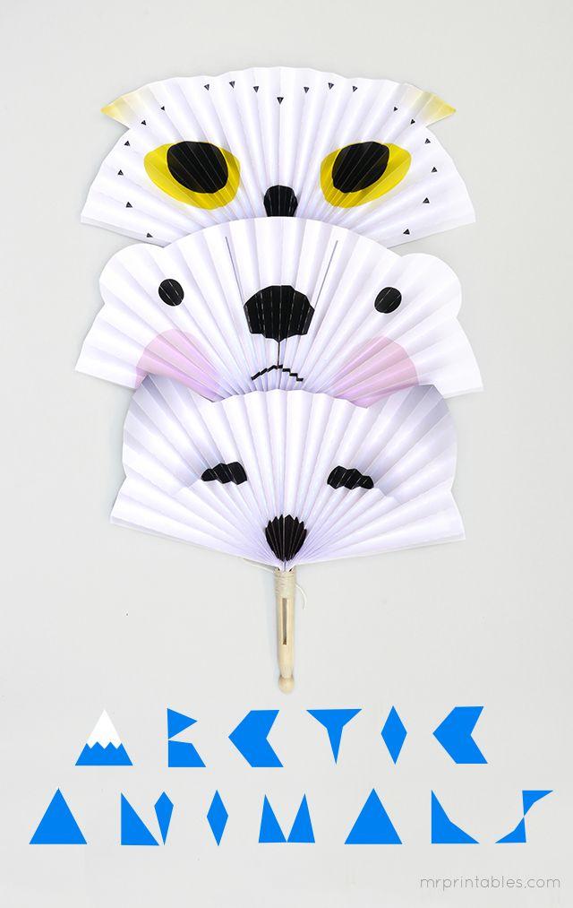 Arctic animal fans. Print out + make | make | Pinterest | Artesanías ...