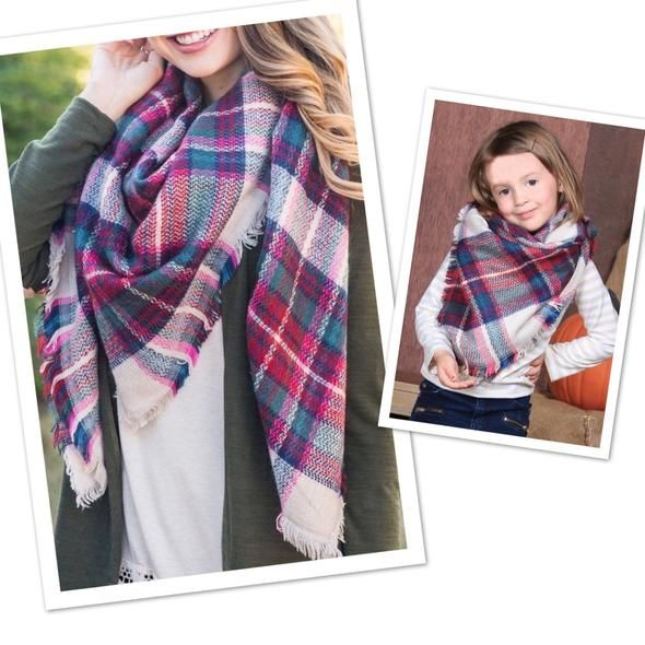 dbb80f480c709 Matching Mother Daughter Blanket Scarf Buffalo Plaid/Burberry Plaid: OS. Matching  Mommy and Me Blanket Winter Scarfs ...