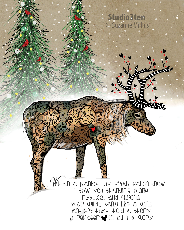 Christmas Reindeer Story 2021 Reindeer Print Reindeer Art Reindeer Gift Wildlife Art Etsy In 2021 Wildlife Art Nature Prints Reindeer Gifts