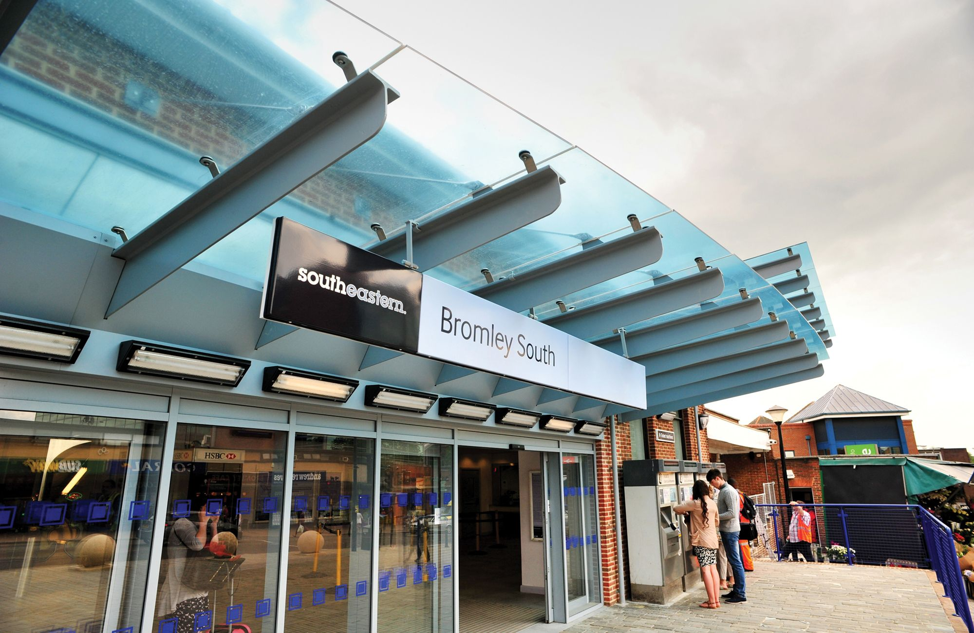Wall Mounted Entrance Canopy | Bromley South Station - Glass Entrance Canopy u2026 & Wall Mounted Entrance Canopy | Bromley South Station - Glass ...