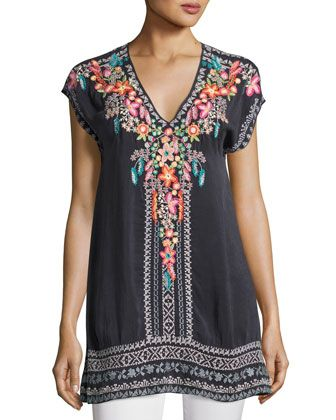 Letty+Embroidered+Silk-Georgette+Top,+Plus+Size+by+Johnny+Was+at+Neiman+Marcus.