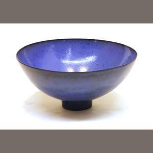 An American blue glazed earthenware bowl James Lovera (American, 1920).