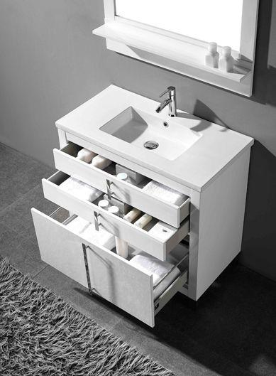 Adornus Turin 30 Inch White Modern Bathroom Vanity Free Standing