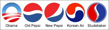 Arnell Group's 2009 Pepsi logo is a mash up of Korean Airlines and the Obama logo. 'Perhaps Pepsi didn't rip off the Obama logo after all. Korean Air, established in the 1970s, has its own Pepsi-ish logo, a play on the lovely and balanced red-and-blue circle on the South Korean flag. Pepsi's latest campaign brought forth a new uber-shiny and more lopsided version of the logo developed and redeveloped since the 1950s (umm, check out the Studebaker motor company symbol, too)....'