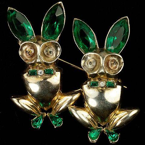 Corocraft Sterling Gold Emerald Rabbits Duette