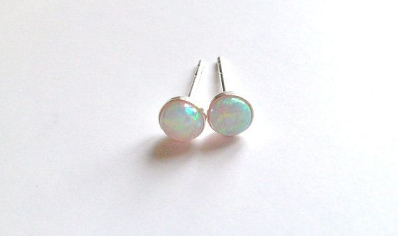 Tiny Opal Stud Earrings Natural Small By Lefrenchchic On Etsy