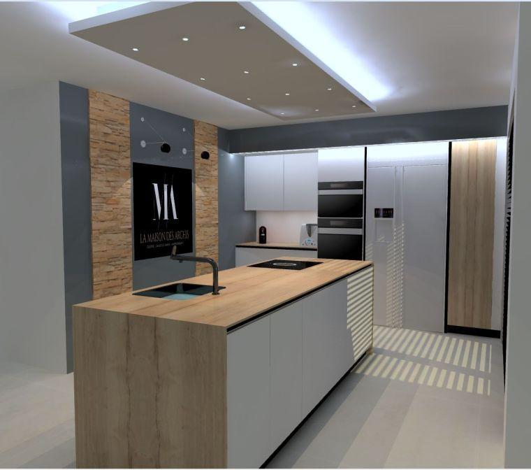Idee De Cuisine Italienne Et Deco Avec Meubles Moderne Et Ilot Avec Luminaire Led Home Decor Room Divider Home
