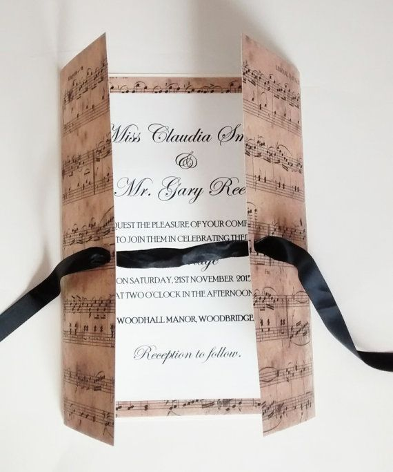Music Wedding Invitationclaudia Invitation By Luxurisse On Etsy