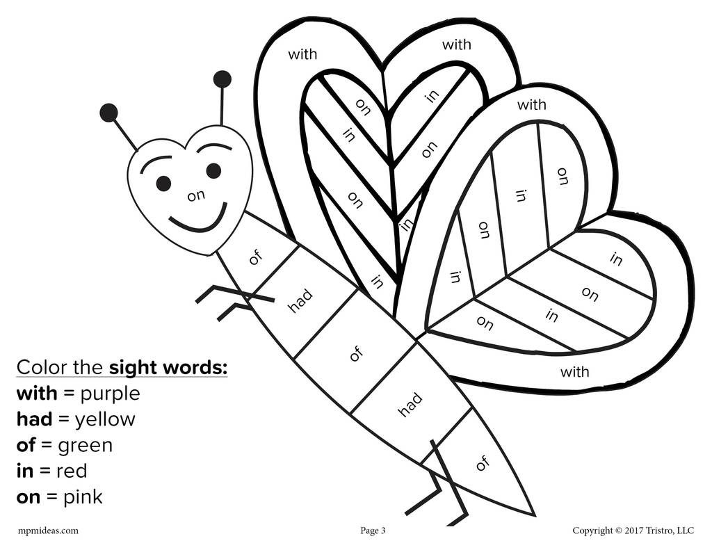 Valentine S Day Color By Sight Word